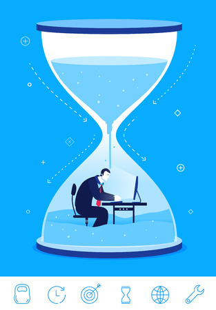 Flat design concept illustration. timeline deadline. Businessman sitting in the hourglass.  clipart. Icons set.