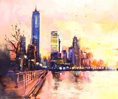 Digital painting of  city with skyscraper and ocean at sunset. Rastr stock llustration