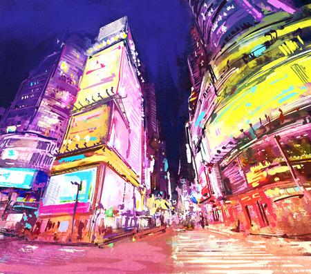 Peinture numérique de la ville avec gratte-ciel dans la nuit. Ville Neon avec commerces. Rastr Stock llustration