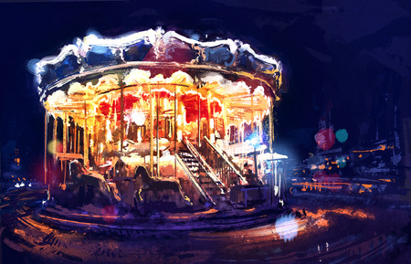 Digital painting of  illuminated vintage carousel close to Eiffel Tower at sunset. Paris. Rastr stock llustration
