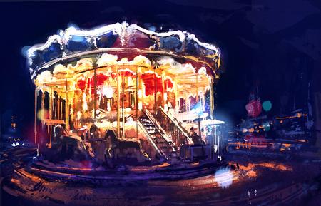 Het digitale schilderen van verlichte vintage carrousel in de buurt van de Eiffeltoren bij zonsondergang. Parijs. Rastr voorraad llustration Stockfoto