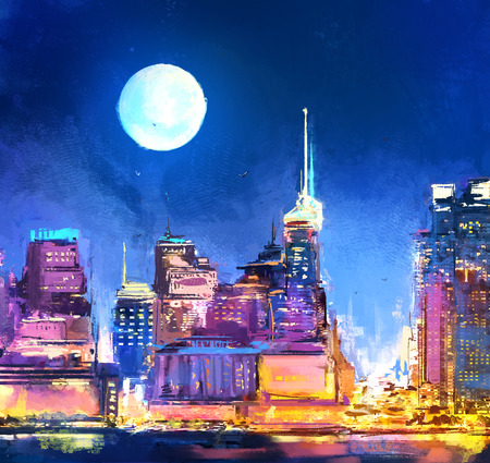 Digital painting of  city with skyscraper at night. Neon City with shops. Rastr stock llustration