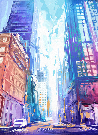 perspective: Digital painting of  city with skyscraper at sunrise.  Rastr stock llustration