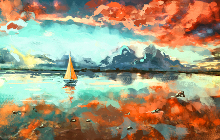 Digital painting of boat in the ocean at sunset. Rastr stock llustration
