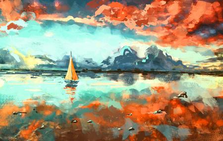 voilier ancien: Peinture numérique du bateau dans l'océan au coucher du soleil. Rastr Stock llustration Banque d'images