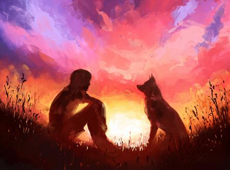 Peinture numérique de l'homme et de son chien assis sur un fond de coucher de soleil. Illustration de stock Rastr
