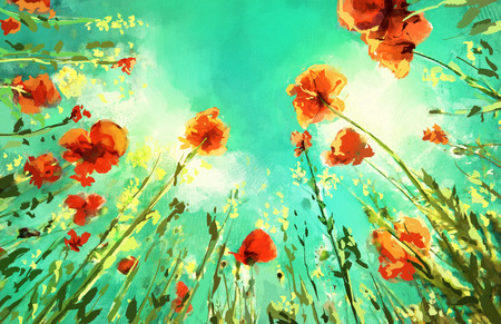 spring landscape: Digital painting of  field with poppies.  Rastr stock llustration Stock Photo