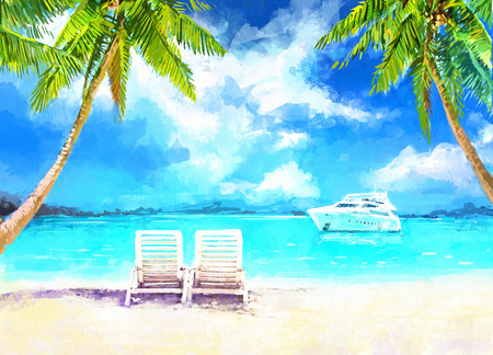 Digital painting of  vacation at sea. Two loungers on the sandy beach with views of the sea and the yacht. Rastr stock llustration 版權商用圖片 - 54303385
