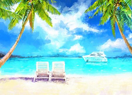 cadeira: pintura digital de férias no mar. Duas espreguiçadeiras na praia de areia, com vista para o mar e para o iate. Rastr estoque llustration