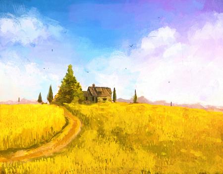 Digitale Malerei von Urlaub am Meer. Bauernhof oder Landhaus in den Sonnenuntergang. Herbstlandschaft mit Bauernhaus auf dem Hügel. Rastr Lager llustration Standard-Bild - 54303384