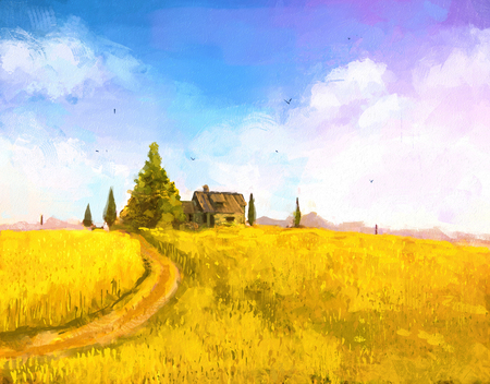 Digital painting of  vacation at sea. farm or country house in the sunset. Autumn landscape with farm house on hill. Rastr stock llustration
