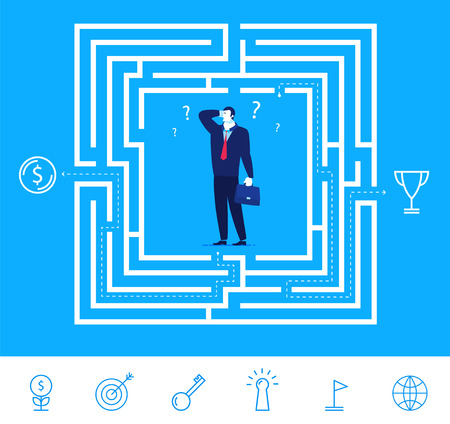 difficult decision: Flat design concept illustration. Businessman thinking how to pass the maze and get the money or cup.