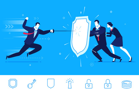 intervention: Flat design concept illustration. Teamwork. Businessman and businesswoman are protected by a shield from attack.