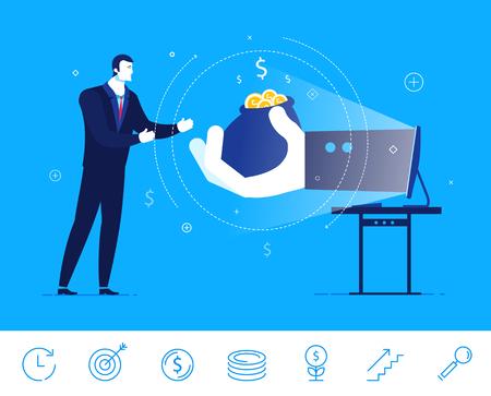 next: Flat design concept illustration. Businessman gets money from online commerce.