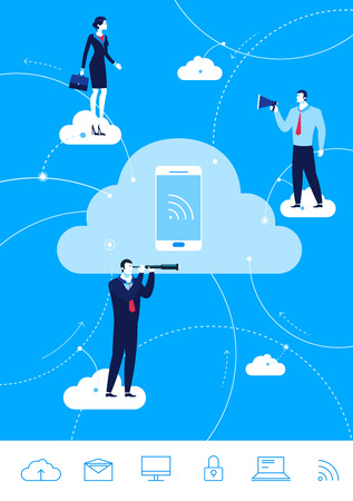 cloud computing technologies: Flat design concept illustration. Teamwork. Businessman and businesswoman conducting business through the cloud. Illustration