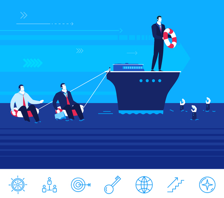 survive: Flat design concept illustration. Teamwork. Businessman on the ship helps entrepreneurs to survive and not to drown Illustration