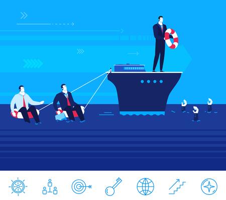 lifeline: Flat design concept illustration. Teamwork. Businessman on the ship helps entrepreneurs to survive and not to drown Illustration