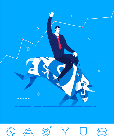 bullish: Flat design concept illustration. Businessman saddled bull of dollars. Hold tight success. Choose the right path.