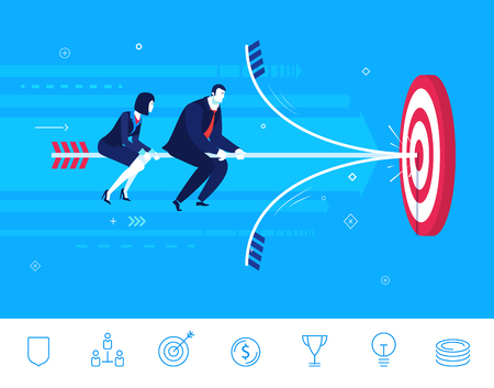 right path: Flat design concept illustration. Teamwork. businessman and businesswoman hit the target. Choose the right path. Illustration