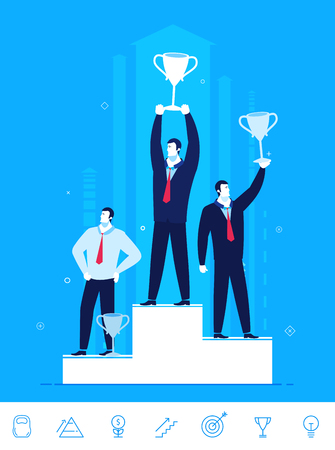 right path: Flat design concept illustration. Teamwork. Businessmen standing with prizes for good work. Choose the right path. Illustration