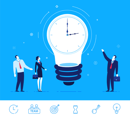 cartoon clock: Flat design vector concept illustration. Businesspeople are standing around the clock lamp. Time is money. Ideas generator. Vector clipart. Icons set.