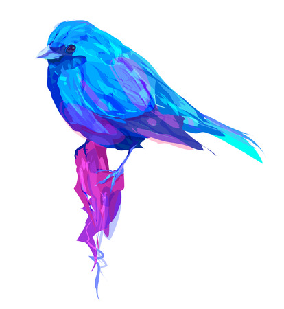 De exotische vogel op een witte achtergrond. Retro grafisch element. Dit is illustratie ideaal voor een mascotte en tattoo of T-shirt van de graphic. Stock illustration
