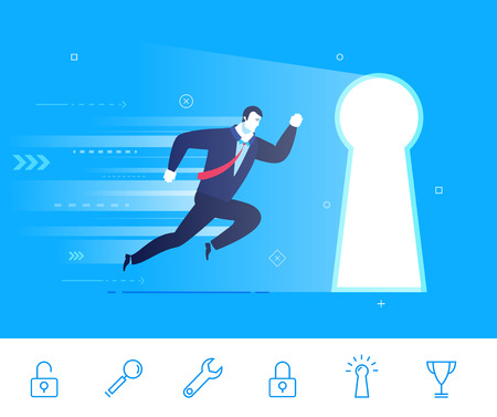Flat design illustration concept of business situation. businessman running to the keyhole. Go to the target.