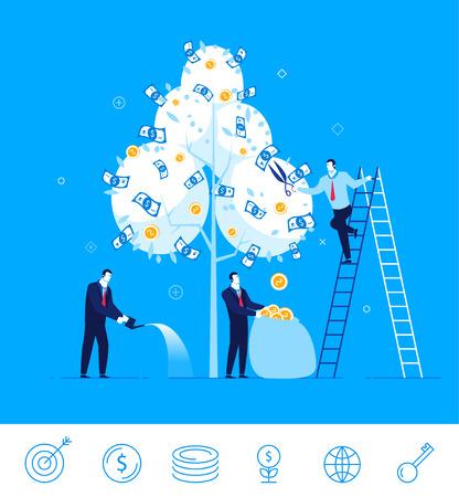 Design plat illustration concept de situation de l'entreprise. équipe commerciale récolte l'argent de l'arbre de l'argent. Vecteurs