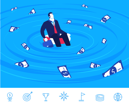 financial emergency: Flat design illustration concept of business situation. businessman sitting on a lifebuoy in the sea of money. Illustration