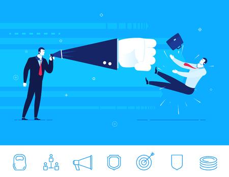 business team: Flat design illustration concept of business situation. Businessman sends a knockout of his opponent. Illustration