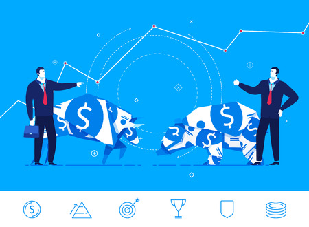 confrontation: Flat design concept illustration. The confrontation of the two sides. Bull and bear standing next to businessmen.