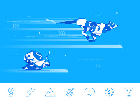 money cat: Flat design concept illustration. origami  snail and Cheetah compete in running. Good profit. Unsuccessful catch.