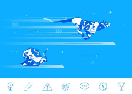 Płaska konstrukcja koncepcji ilustracji. origami Ślimak i Cheetah rywalizować w biegu. Dobry wynik. Nieudany połów.