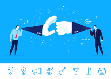 Flat design illustration concept of business situation. Two businessman fighting. Debate opponents.