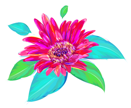 magenta: Cute  rose. Set of flowers isolated on white background. Retro design graphic element. This is illustration ideal for a mascot and tattoo or T-shirt graphic. Stock illustration