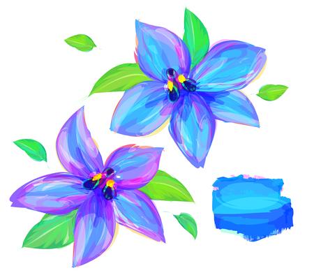 Fleur Mignon. Ensemble de fleurs isolé sur fond blanc. Rétro conception d'élément graphique. Ceci est idéal pour illustration une mascotte et tatouage ou T-shirt graphique. Stock illustration Banque d'images - 56757349