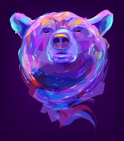 La cabeza del oso sobre fondo negro. Elemento gráfico de diseño retro. Esta es la ilustración ideal para una mascota y un tatuaje o un gráfico de camiseta. Stock ilustración