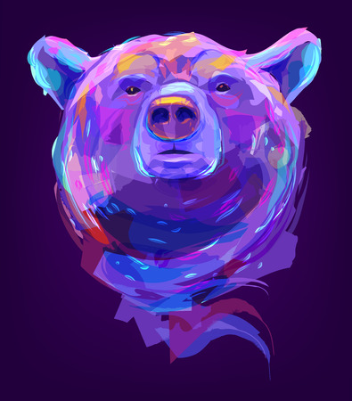 The bear head on black background. Retro design graphic element. This is illustration ideal for a mascot and tattoo or T-shirt graphic. Stock illustration