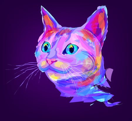 The cat head on black background. Retro design graphic element. This is illustration ideal for a mascot and tattoo or T-shirt graphic. Stock illustration