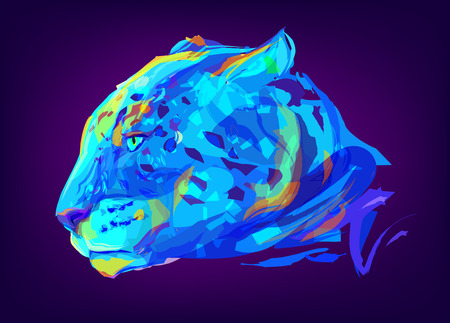 predators: The jaguar head on black background. Retro design graphic element. This is illustration ideal for a mascot and tattoo or T-shirt graphic. Stock illustration