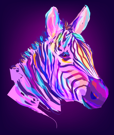 zebra head: The zebra head on black background. Retro design graphic element. This is illustration ideal for a mascot and tattoo or T-shirt graphic. Stock illustration Illustration