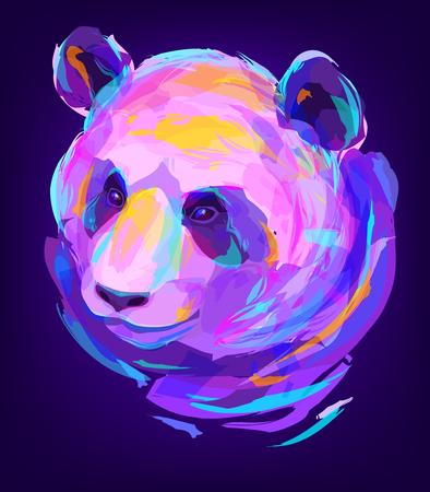 El panda cabeza sobre fondo negro. El diseño retro elemento gráfico. Esta es la ilustración ideal para una mascota y el tatuaje o una camiseta gráfica. ilustración Foto de archivo - 57003315