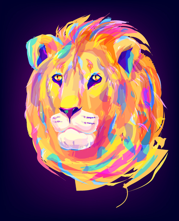 The lion head on black background. Retro design graphic element. This is illustration ideal for a mascot and tattoo or T-shirt graphic. Stock illustration Vektorové ilustrace