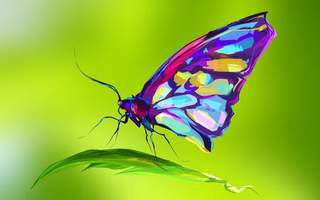De vlinder op groene achtergrond. Retro grafisch element. Dit is illustratie ideaal voor een mascotte en tattoo of T-shirt van de graphic. Stock illustration