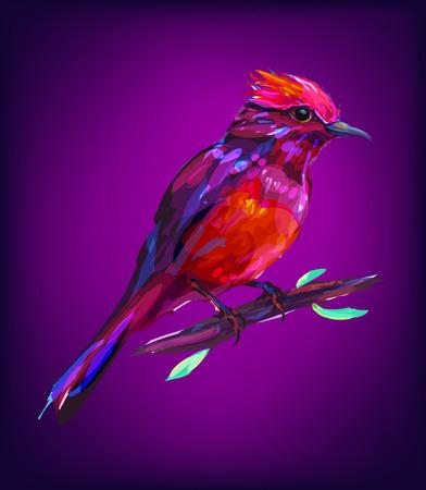 Der exotische Vogel auf weißem Hintergrund. Retro-Design Grafik-Element. Dies ist die Illustration ideal für ein Maskottchen und Tätowierung oder T-Shirt-Grafik. stock illustration