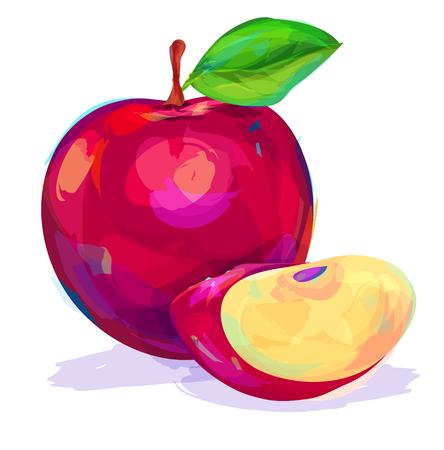 manzana verde: vector dibujado a mano la fruta pintura. Manzana sobre fondo blanco. Esta es la ilustración ideal para una mascota y una camiseta gráfica. ilustración