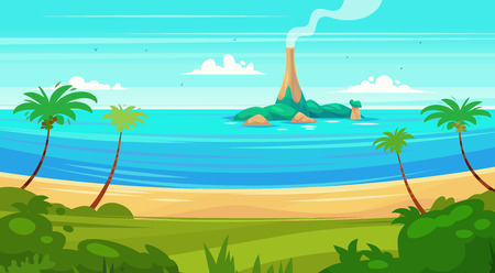 ocean view: Holidays by the sea. View of the island in the ocean. Vector design illustration for web design development, natural landscape graphics.