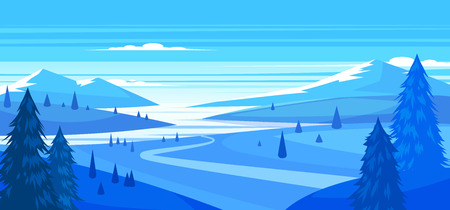 snow field: Winter landscape with mountains. Vector design illustration for web design development, natural landscape graphics.