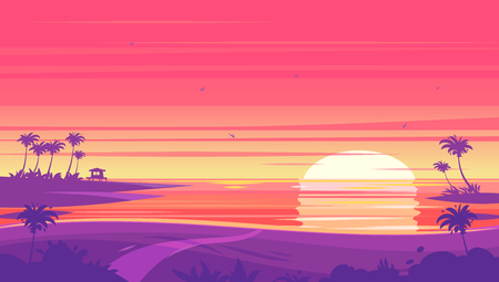 Sunset beach landscape with Sunset with palm trees and bungalows . Vector design illustration for web design development, natural landscape graphics. Векторная Иллюстрация