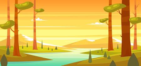 through travel: Forest landscape with mountains. Sunny day in the forest. Vector design illustration for web design development, natural landscape graphics.